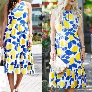 LOFT Lemon Print Midi Dress